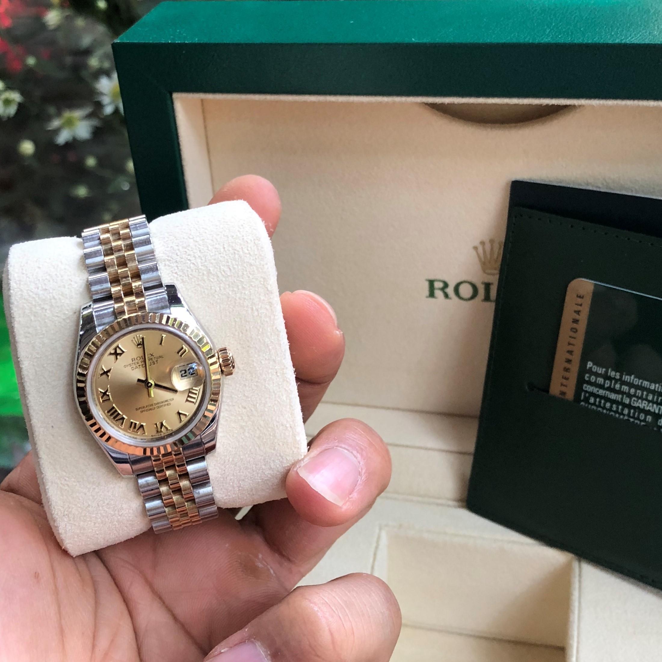 Rolex 179173 mặt vàng tia demi vàng 18k size 26 Fullbox 2012