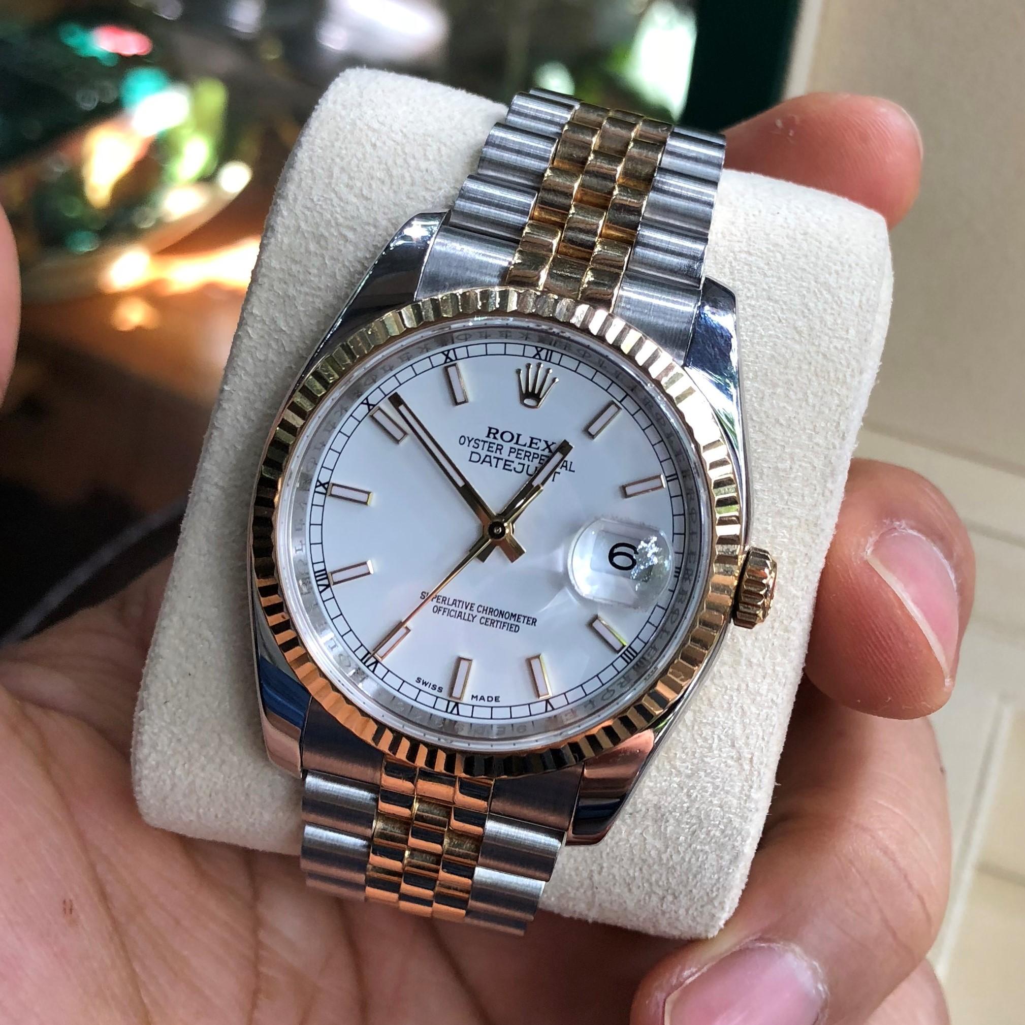 Rolex 116233 mặt trắng men demi vàng 18k lịch đỏ/đen đời 2017/2018