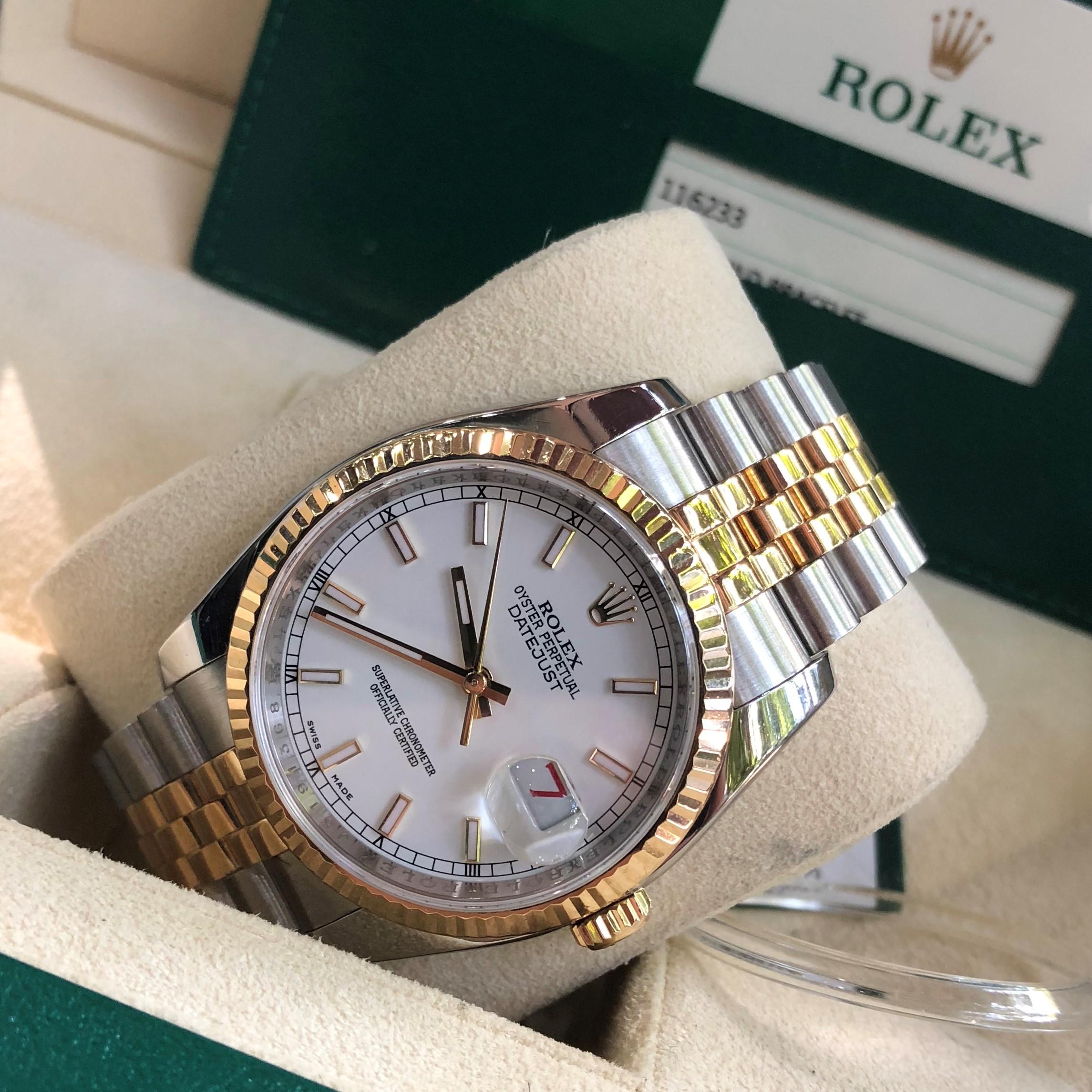 Rolex 116233 mặt trắng men demi vàng 18k size 36mm Fullbox 2014