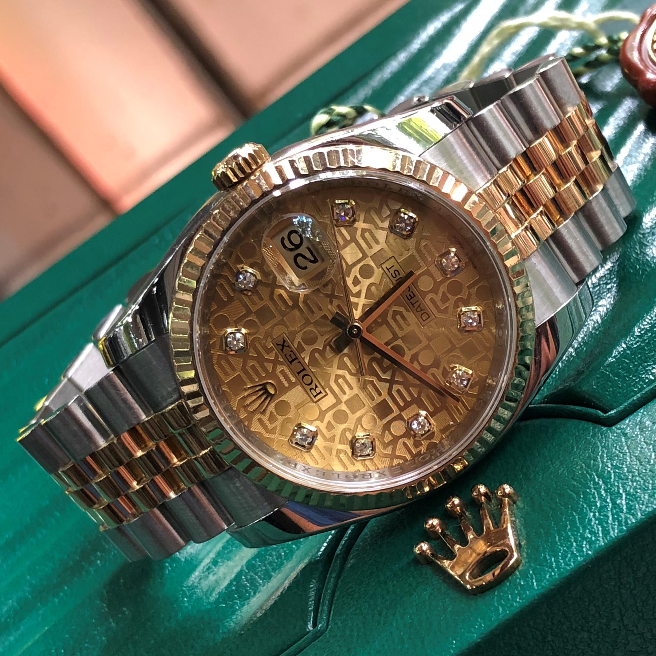 Rolex 116233 mặt vi tính vàng demi vàng 18k