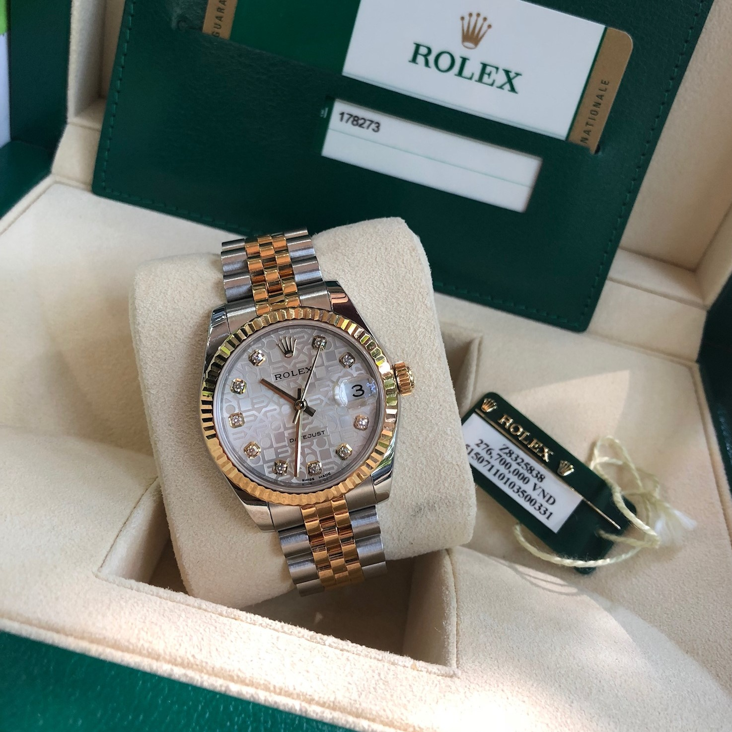Rolex 178273 mặt vi tính demi vàng 18k size 31mm Fullbox 2016