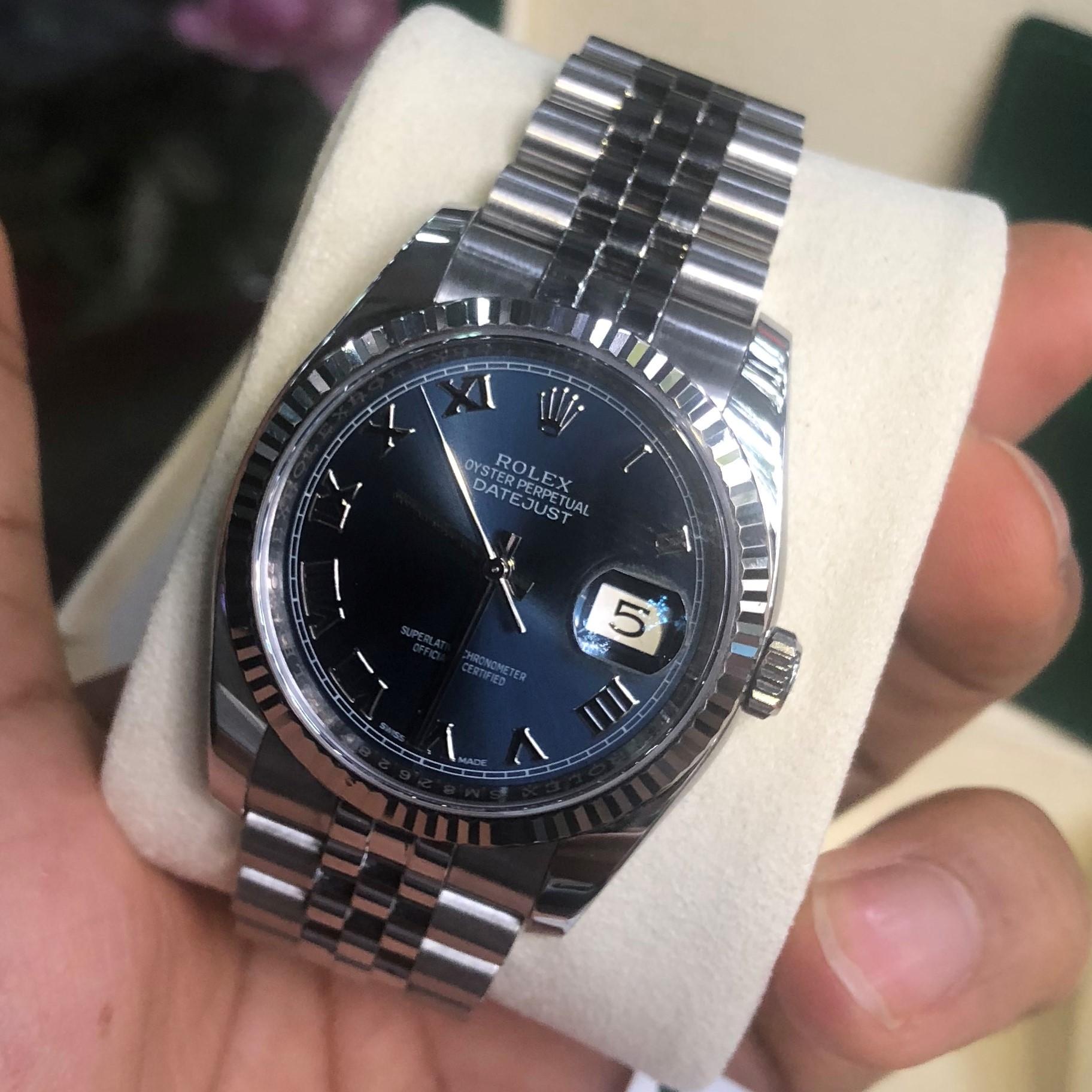Rolex 116234 mặt xanh NaVy Bezel vàng trắng 18k Size 36 Fullbox 2018