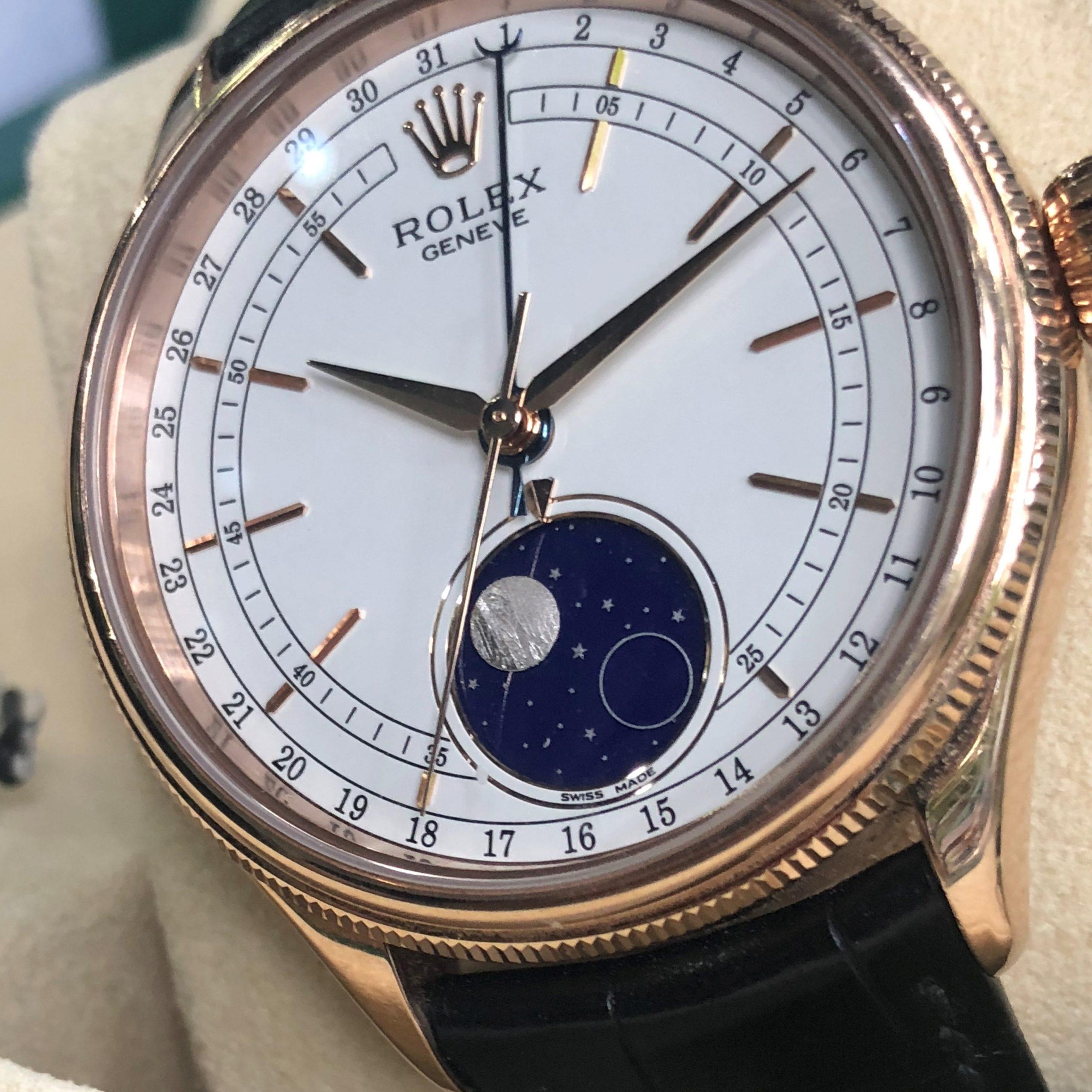 Rolex 50535 mặt trắng thiên thạch vàng hồng 18k size 39 Fullbox 2017