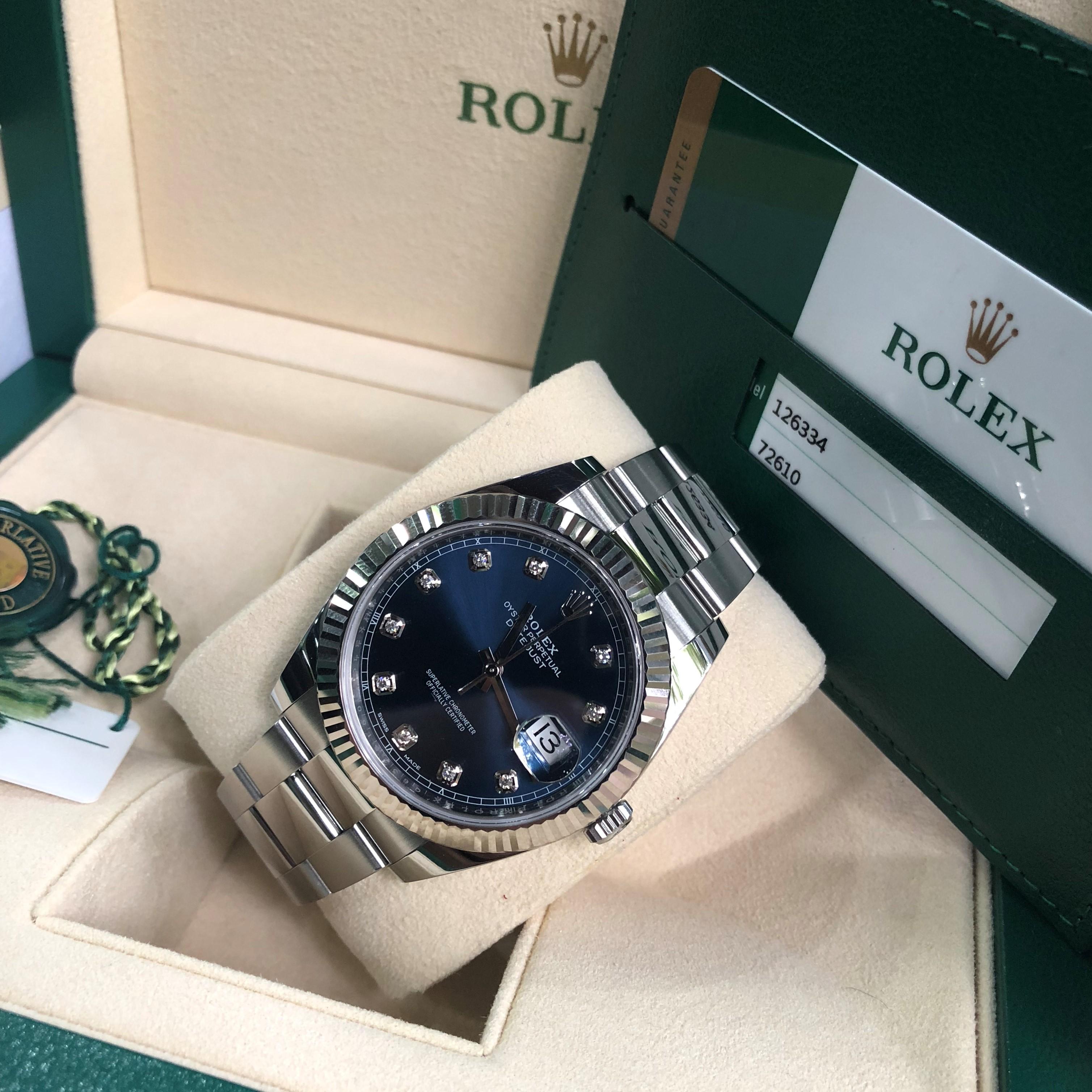 Rolex Datejust 126334 mặt xanh NaVy Size 41mm Fullbook 2018