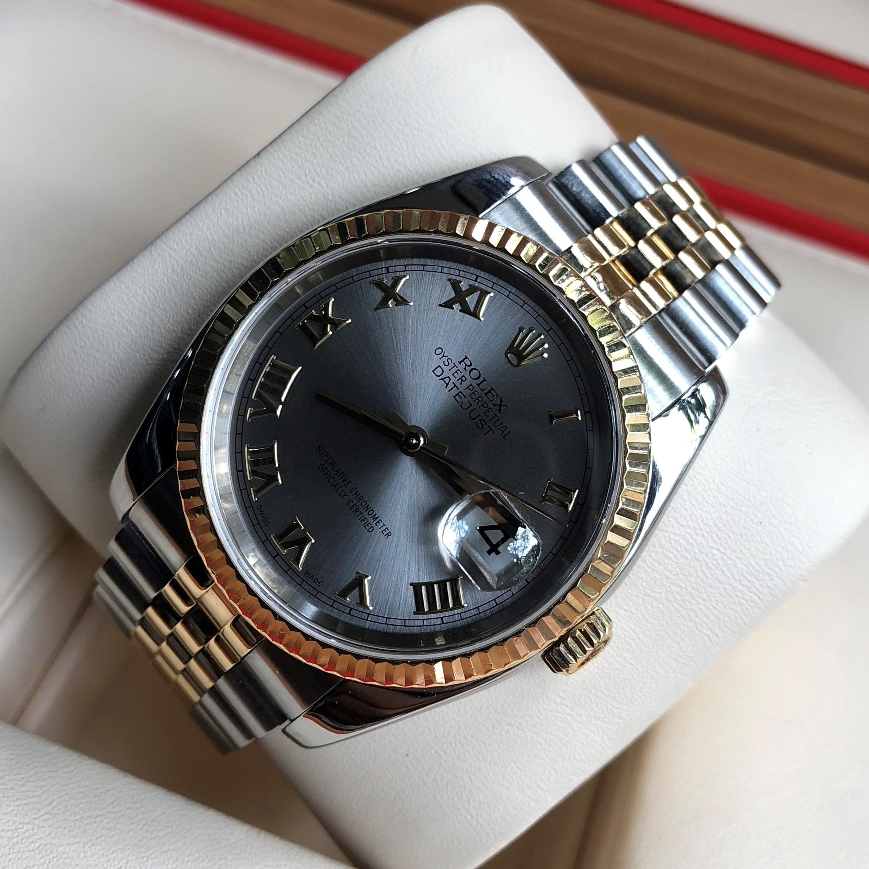 Rolex 116233 mặt khói demi vàng 18k Size 36mm đời 2004