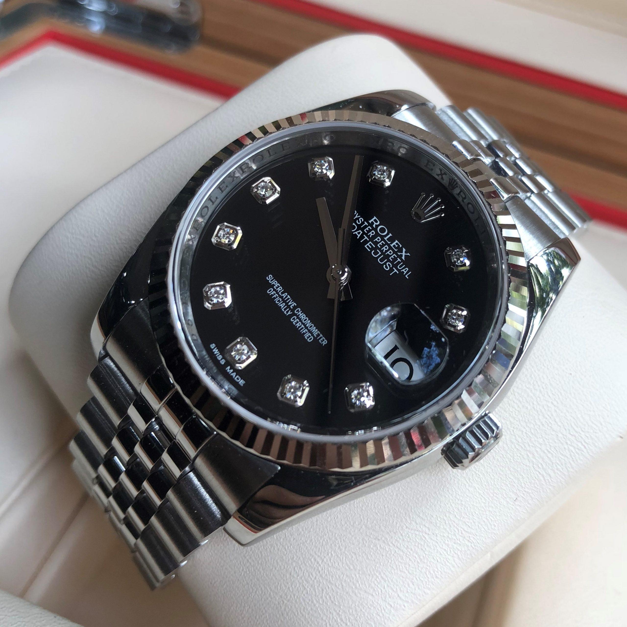 Rolex 116234 mặt đen cọc số Diamond Size 36mm đời 2016/2017