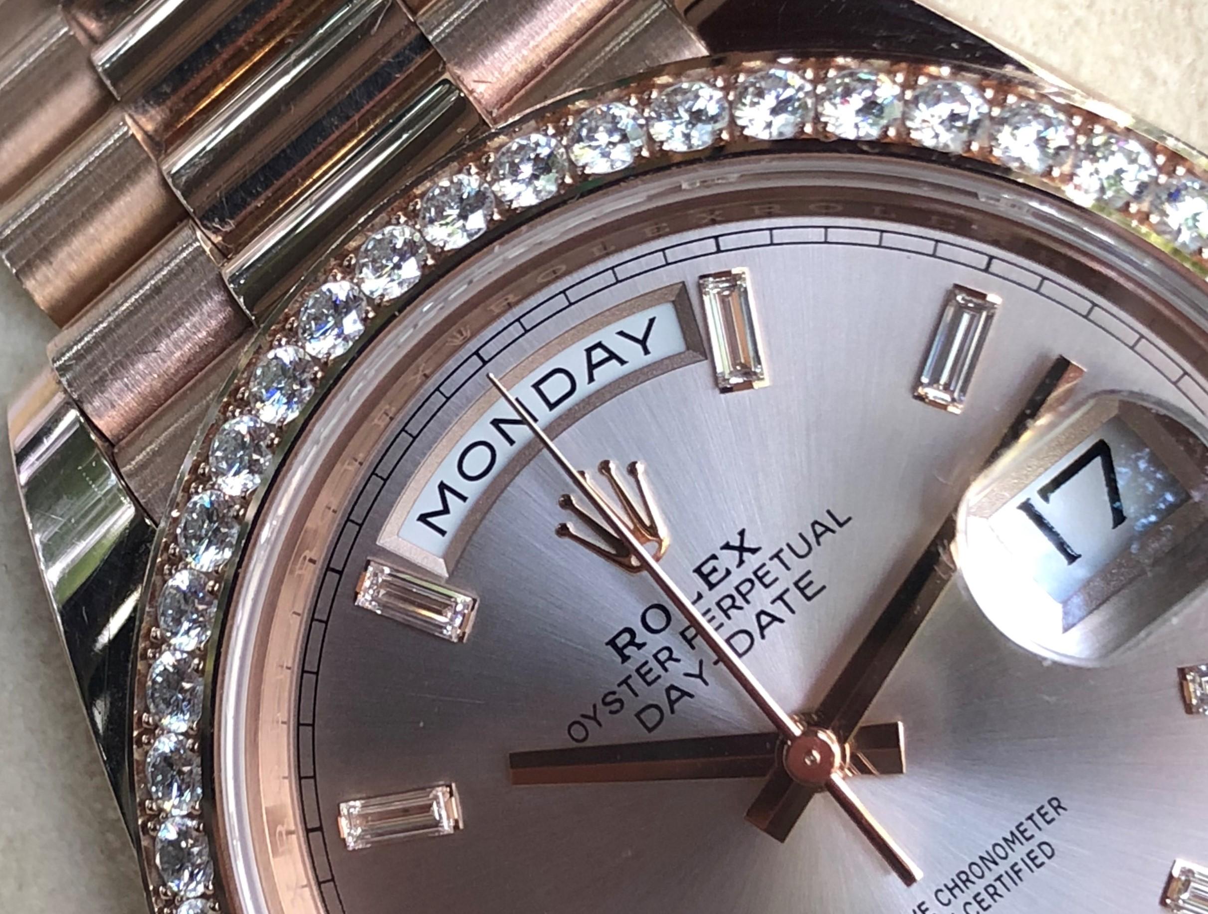Rolex Day-Date 228345RBR vàng hồng 18k niềng kim cương fullbox 2018