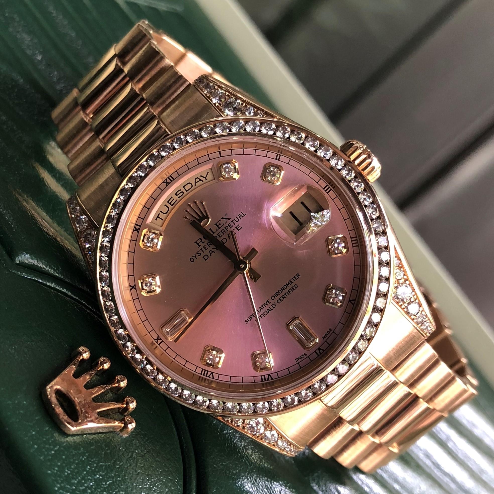 Rolex Day-Date 118338 mặt cánh sen vàng khối 18k fullbox 2005