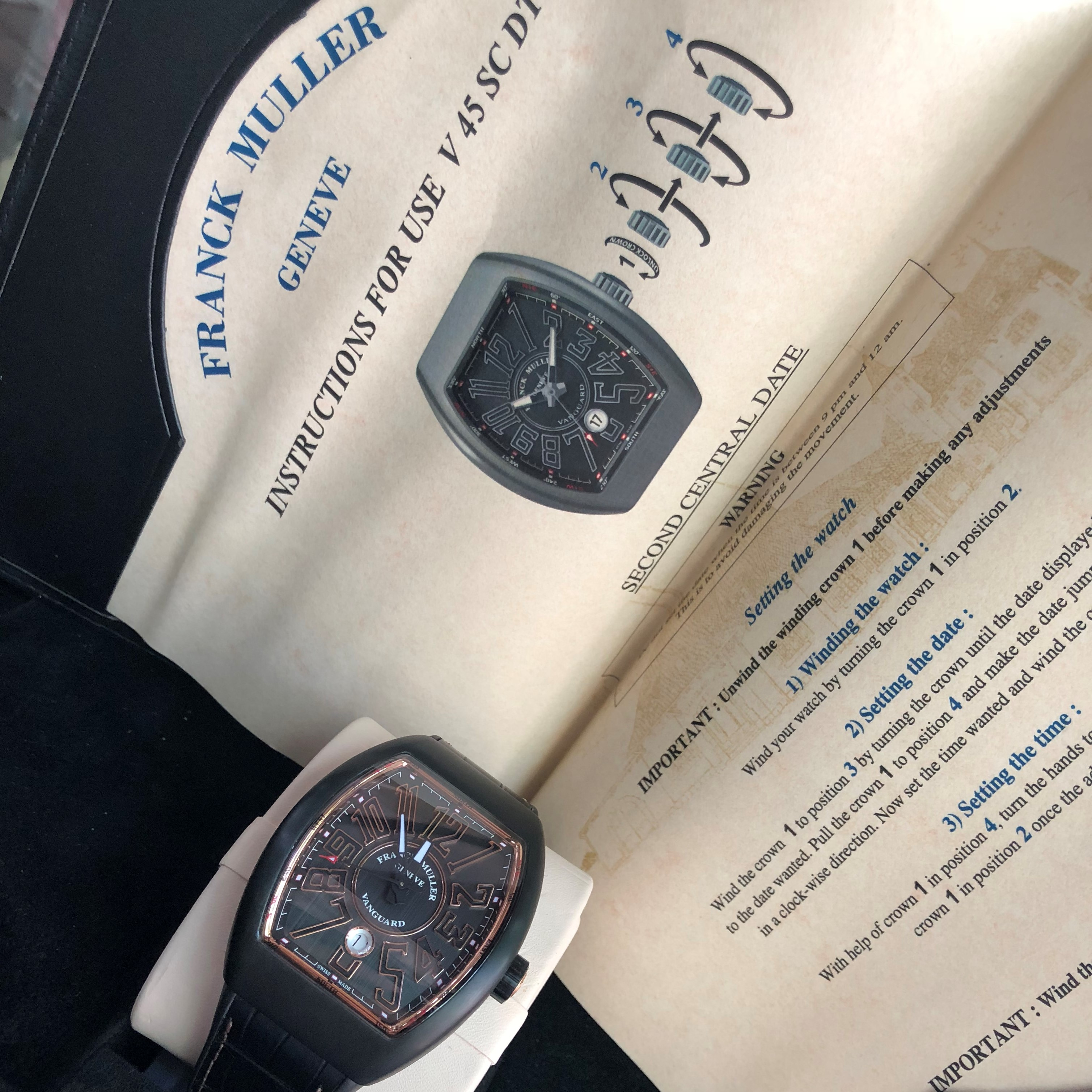Franck Muller Vanguard Black Titanium 18k Rose Gold V 45 SC DT NR BR