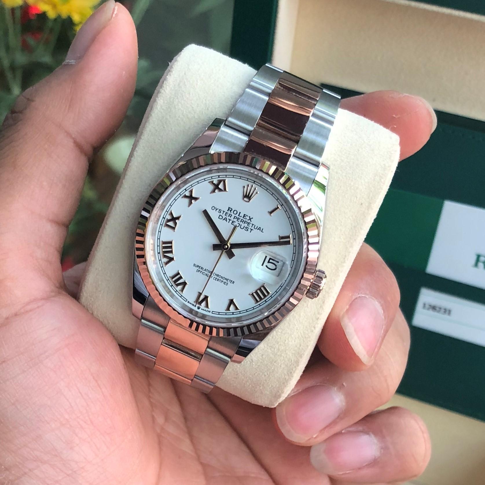 Rolex Datejust 126231 mặt trắng cọc số La Mã Everose Rolesor Fullbox 2019
