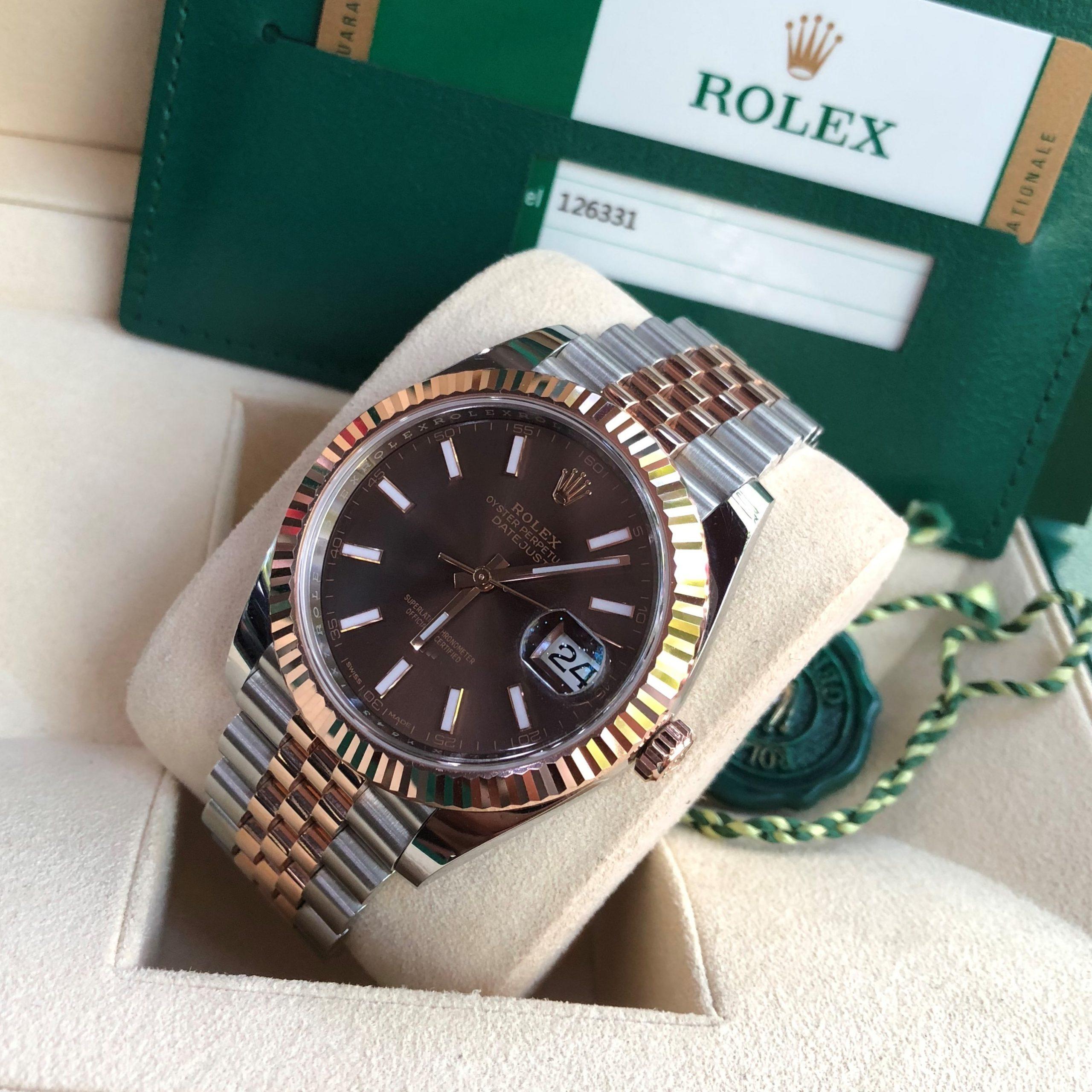 Rolex Datejust 126331 mặt cafe demi vàng hồng Fullbox 2016