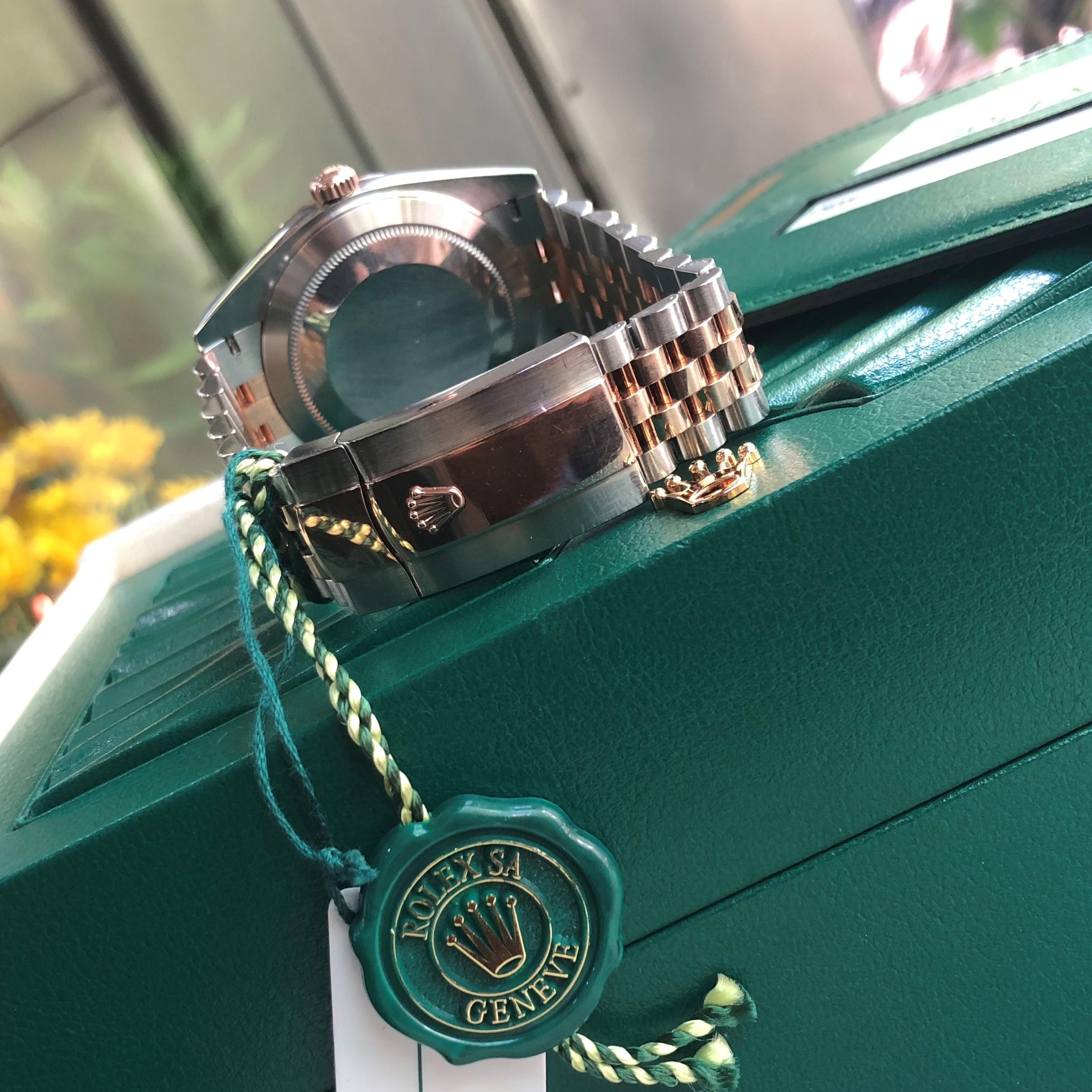 Rolex Datejust 126331 mặt nâu Demi vàng hồng 18k Size 41 Fullbox