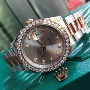 Rolex Datejust 126331 mặt phấn hồng niềng độ hạt to Fullbox 2016