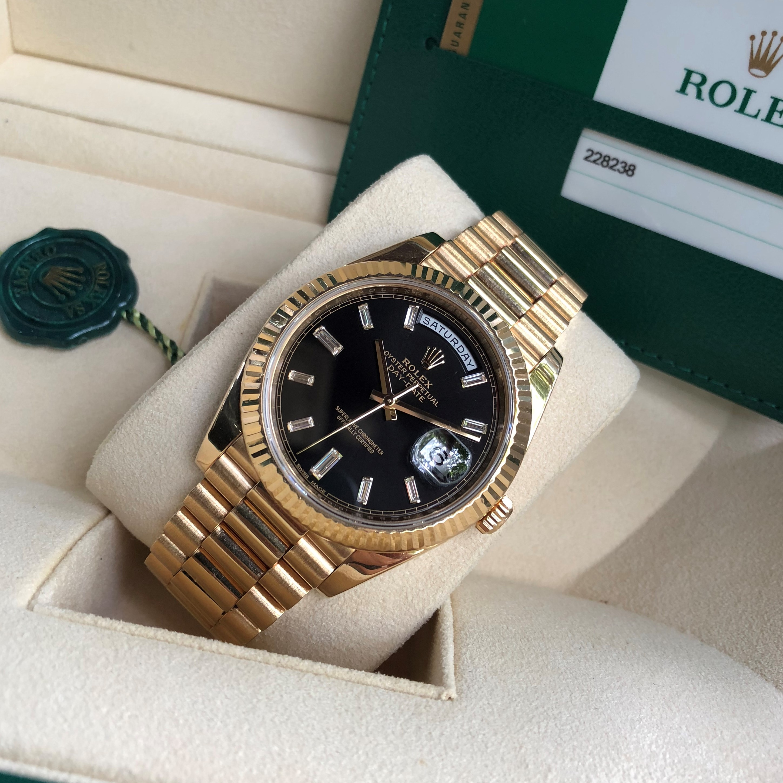 Rolex Day-Date 228238 mặt đen vàng khối 18k size 40 Fullbox 2016