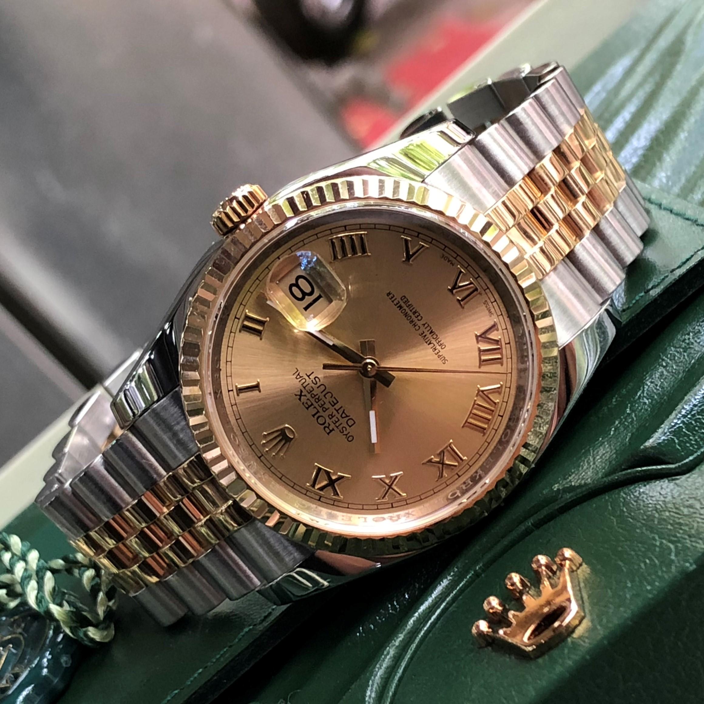 Rolex Datejust 116233 mặt vàng tia demi vàng 18k Fullbox 2012