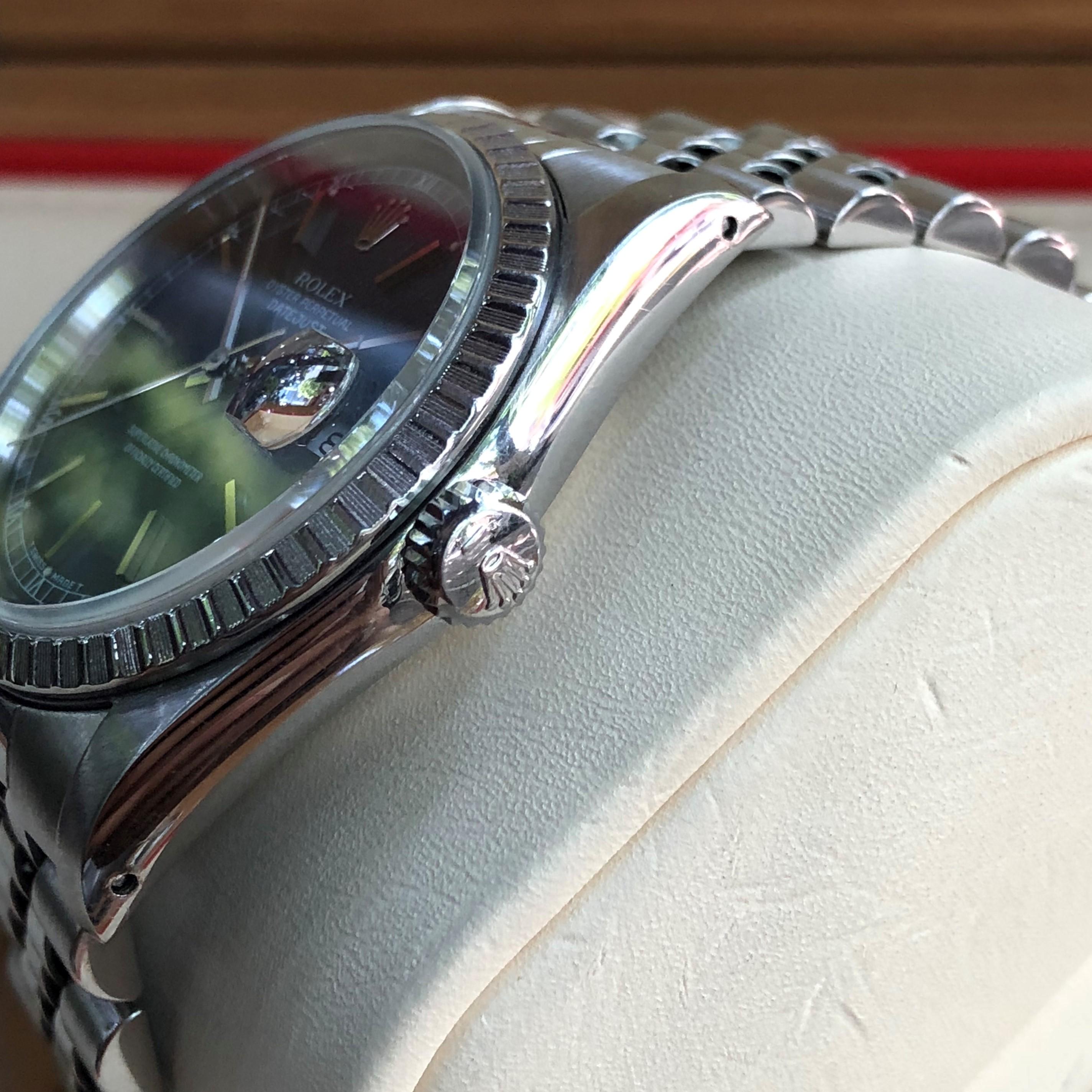 Rolex Datejust 16220 mặt xanh tím thép size 36mm đời 1989