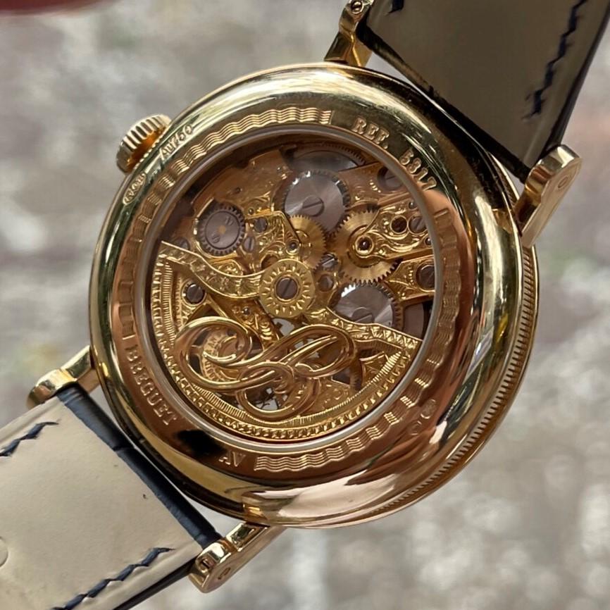 Breguet 5317 Tourbillon vàng 18k mặt trắng bộ xương máy bằng vàng