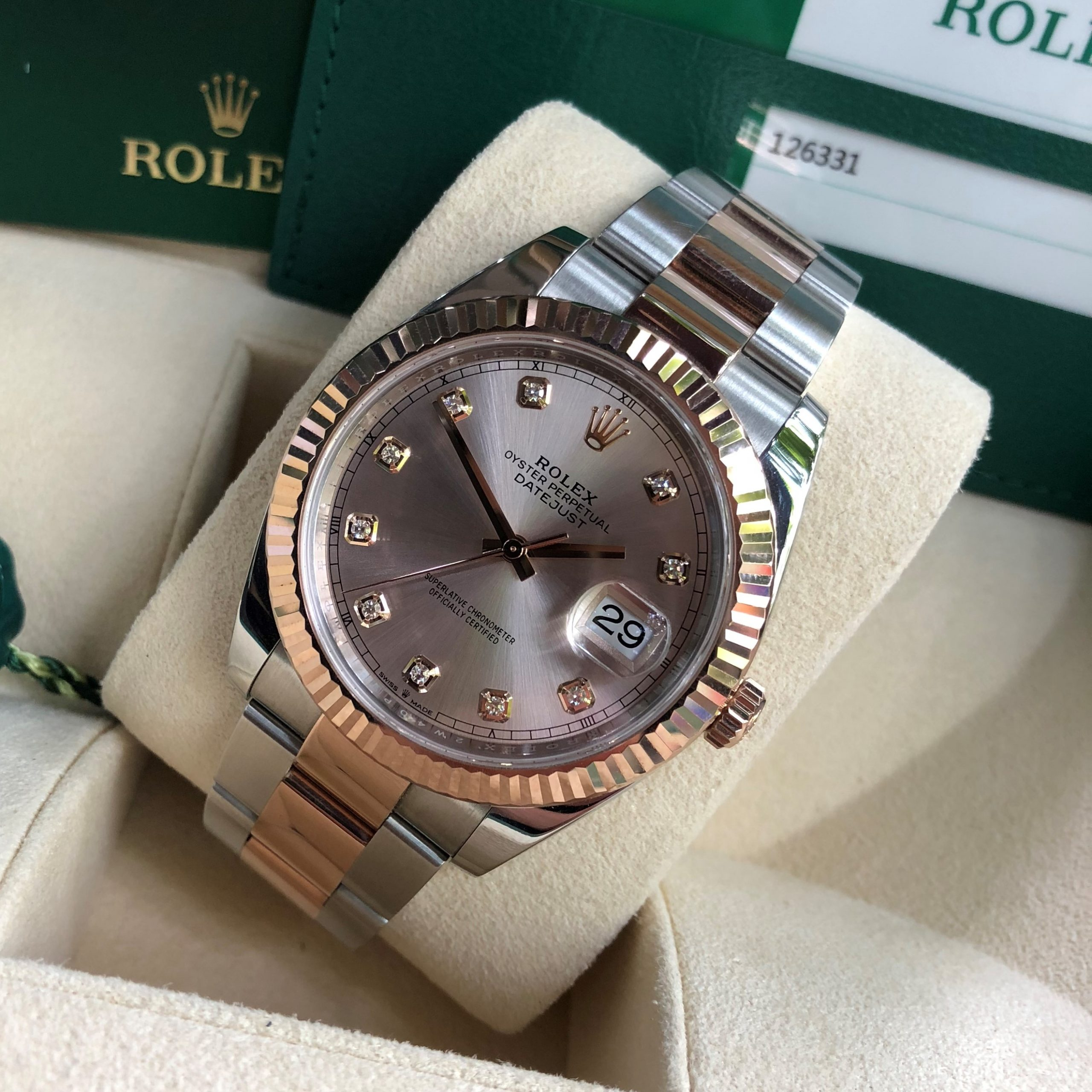 Rolex Datejust 126331 demi vàng hồng 18k cọc số kim cương Fullbox 2019