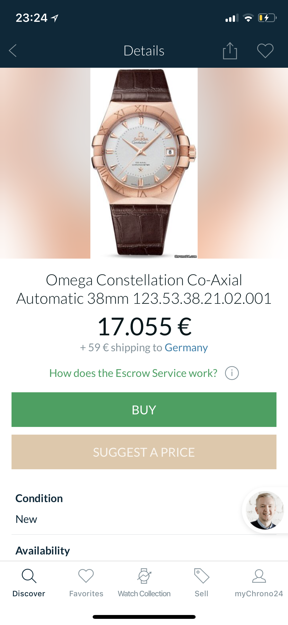 Omega Constellation limited 1952 vàng hồng 18k dây da size 38mm