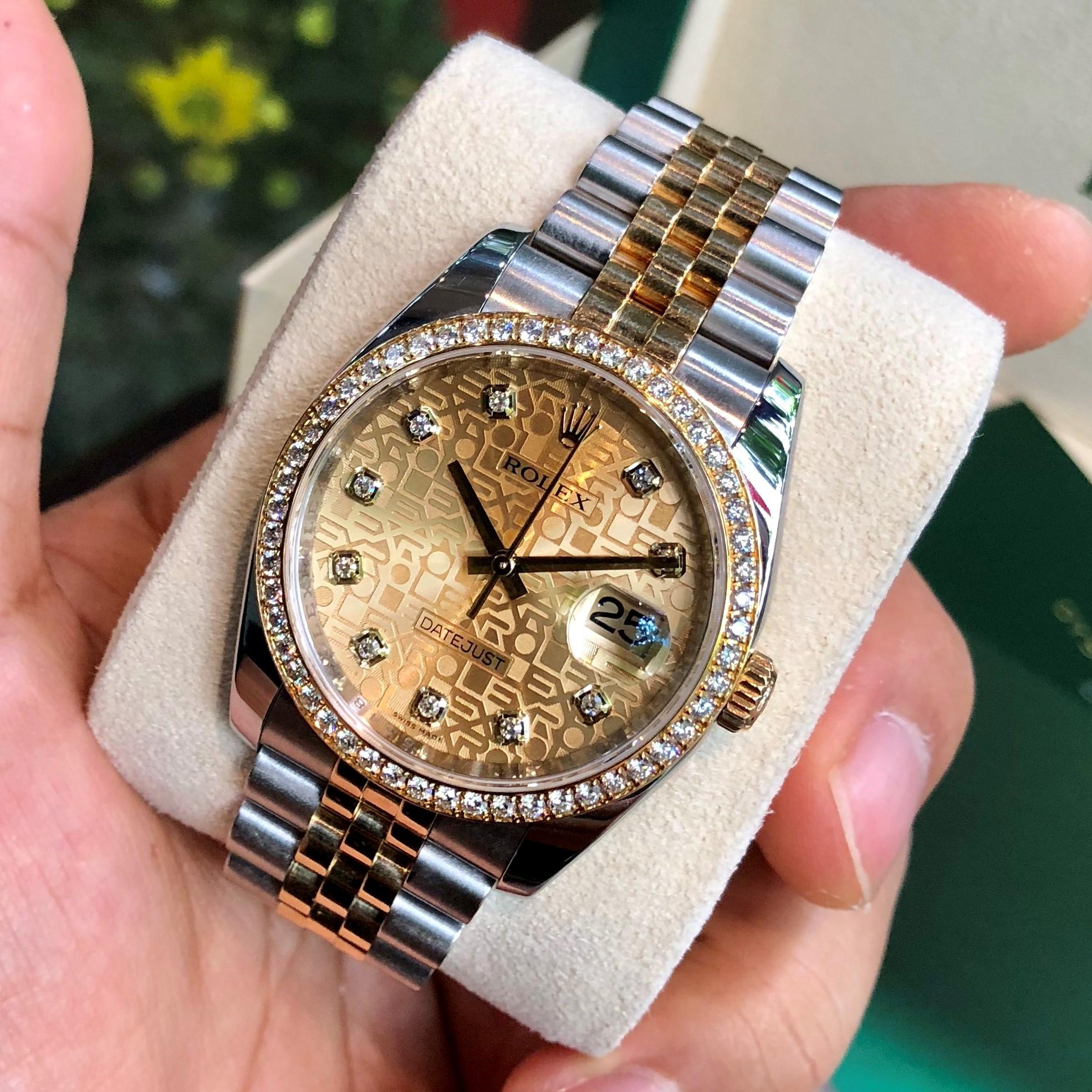 Rolex Datejust 116243 Mặt vi tính vàng Demi vàng 18k Niềng kim zin