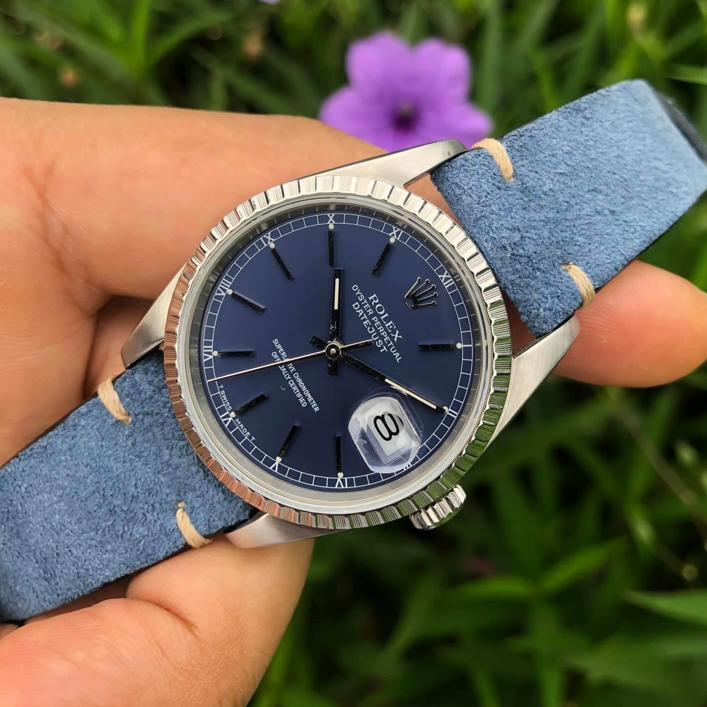 Rolex Datejust 16220 mặt xanh tím cực hiếm giá trị sưu tầm lớn