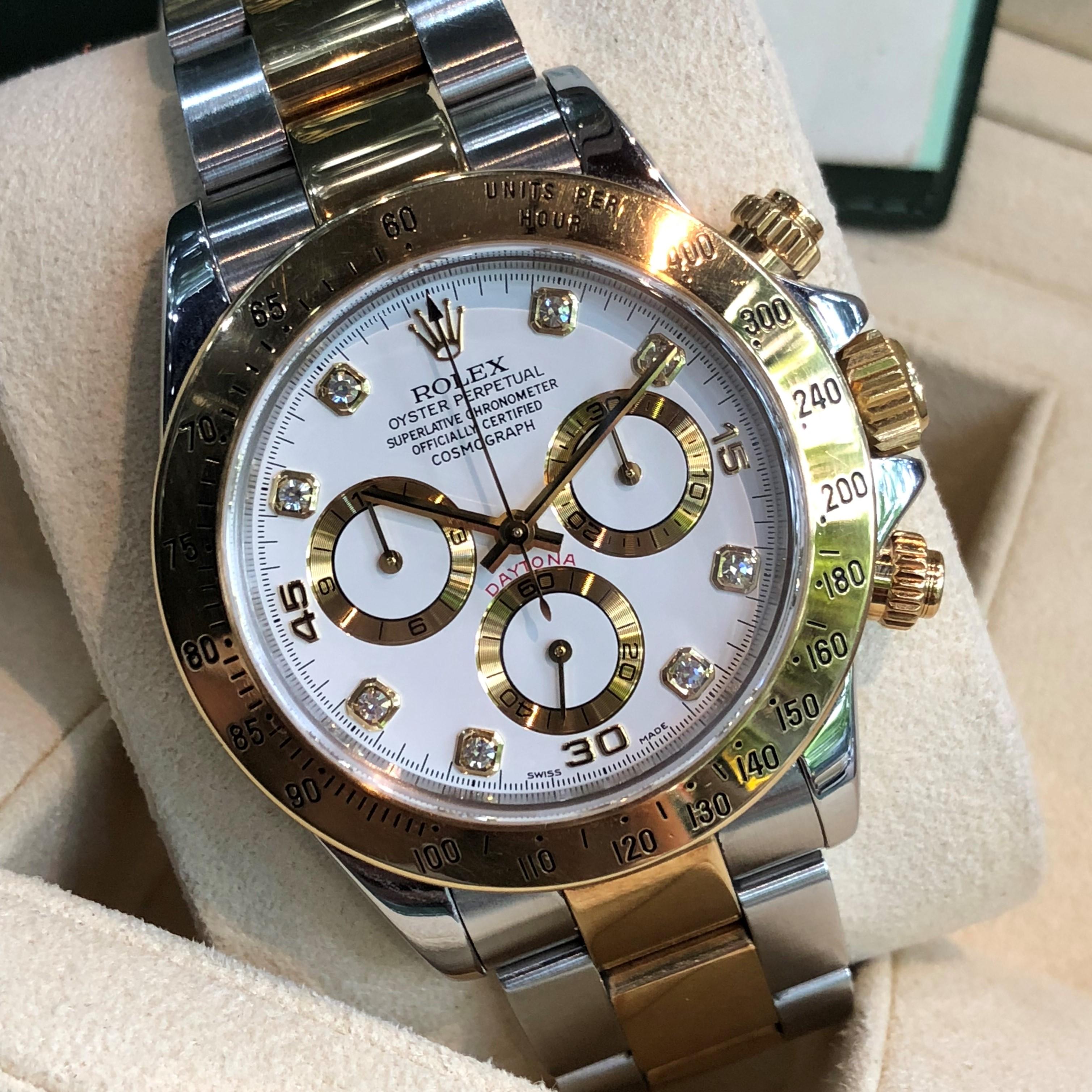 Rolex Daytona 116523 Mặt trắng men Demi vàng 18k Size 40mm