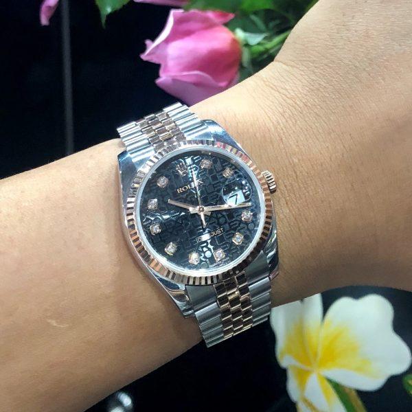 Rolex Datejust 116231 Mặt vi tính đen Demi vàng hồng Size 36mm