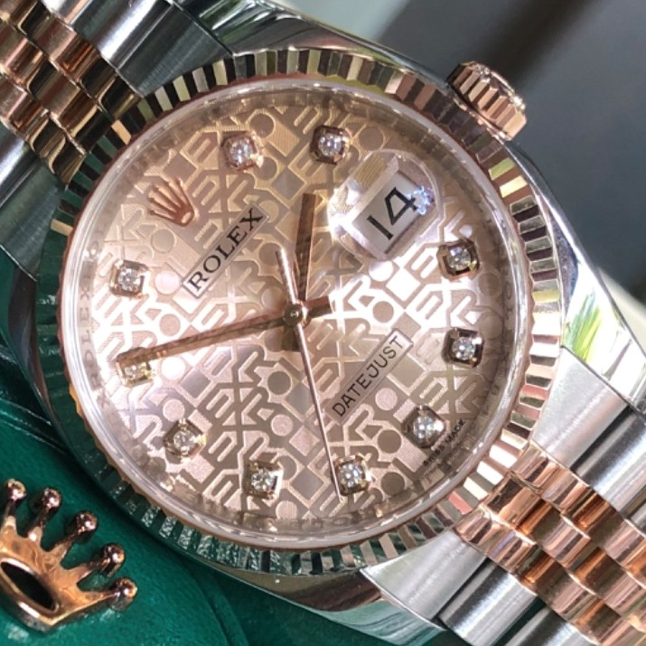Đồng hồ Rolex Datejust 116231 mặt vi tính Demi vàng hồng 18k Fullbox 2013
