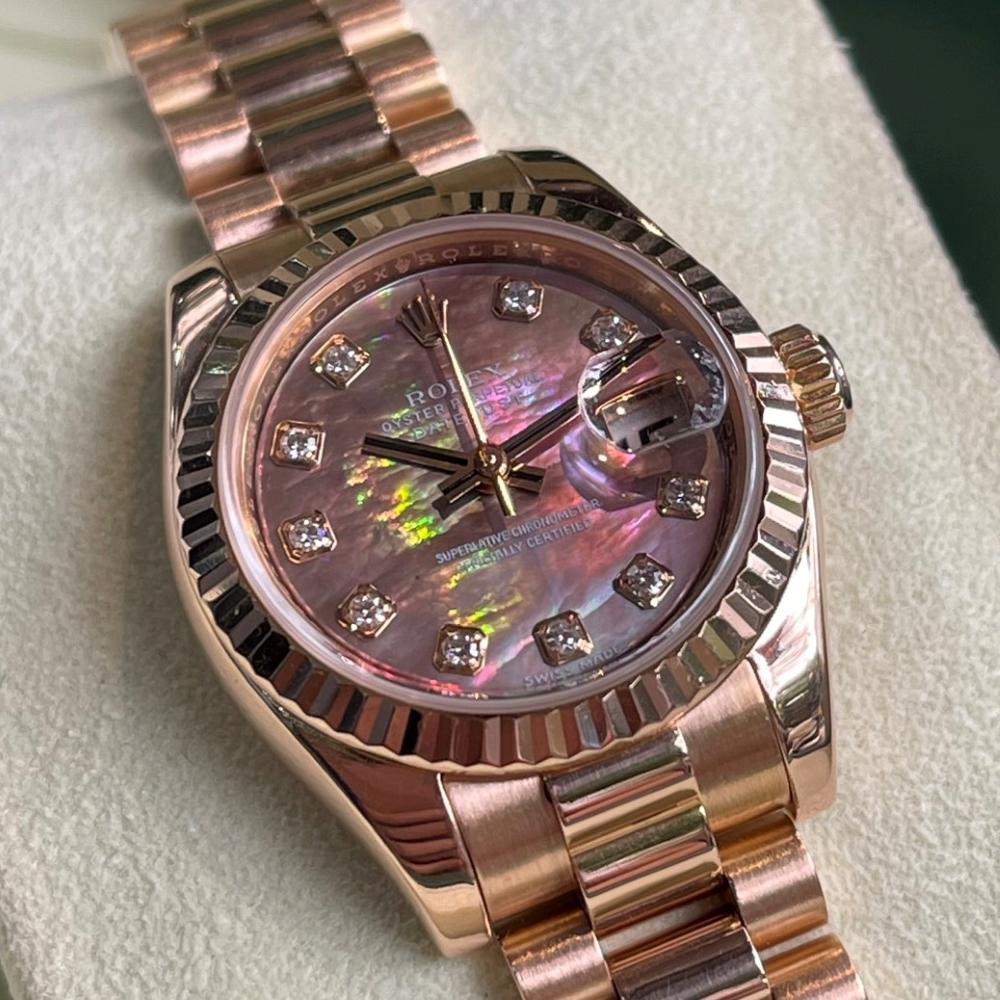 Đồng hồ Rolex Lady-Datejust 179175 Mặt ốc tím Vàng hồng 18k Size 26mm