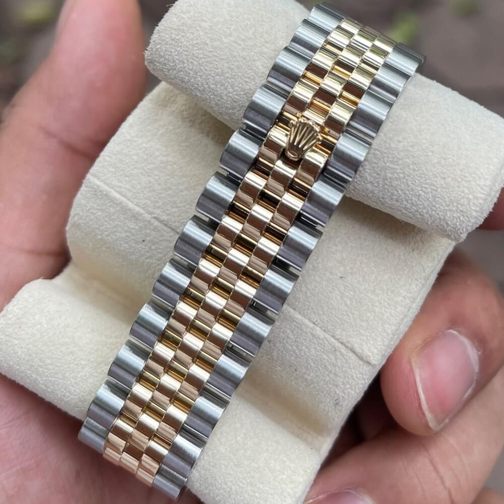 Rolex Datejust 116233 Mặt đen Cọc số Diamond Demi vàng 18k