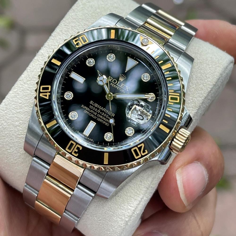 Rolex Submariner Date 116613LN Mặt đen Demi vàng 18k Size 40