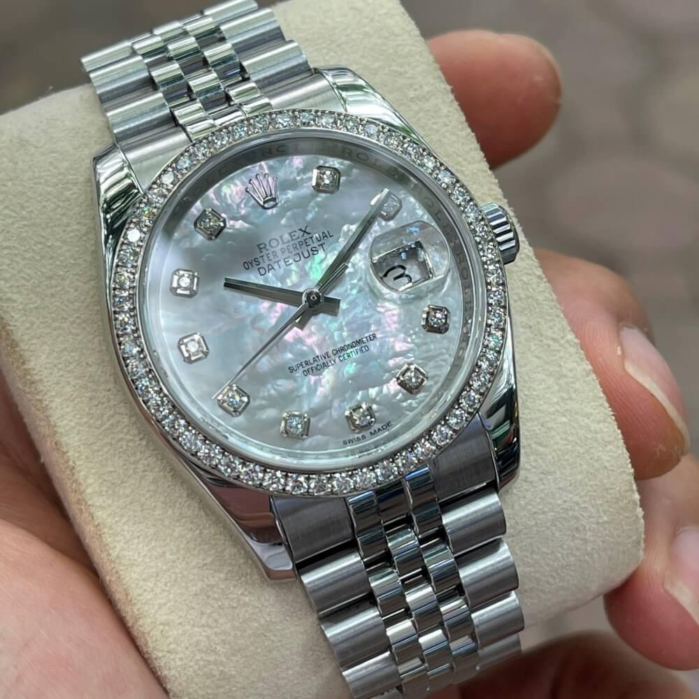 Rolex Datejust 116244 Mặt ốc Bezel đính Kim cương Size 36mm 2018