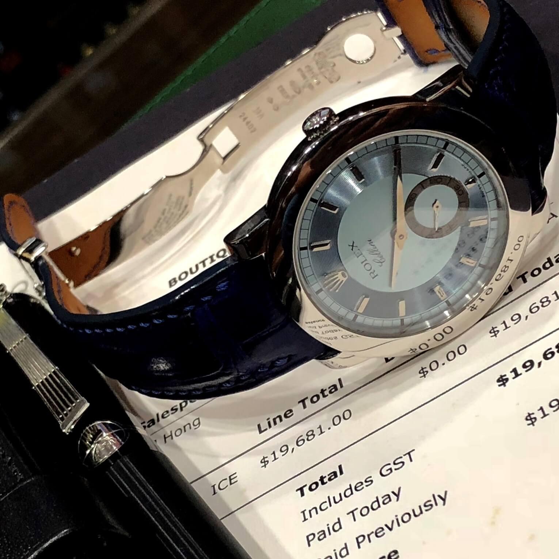 Đồng hồ Rolex Celini 5241/6 Platinum Mặt xanh hiếm Fullbox 2014