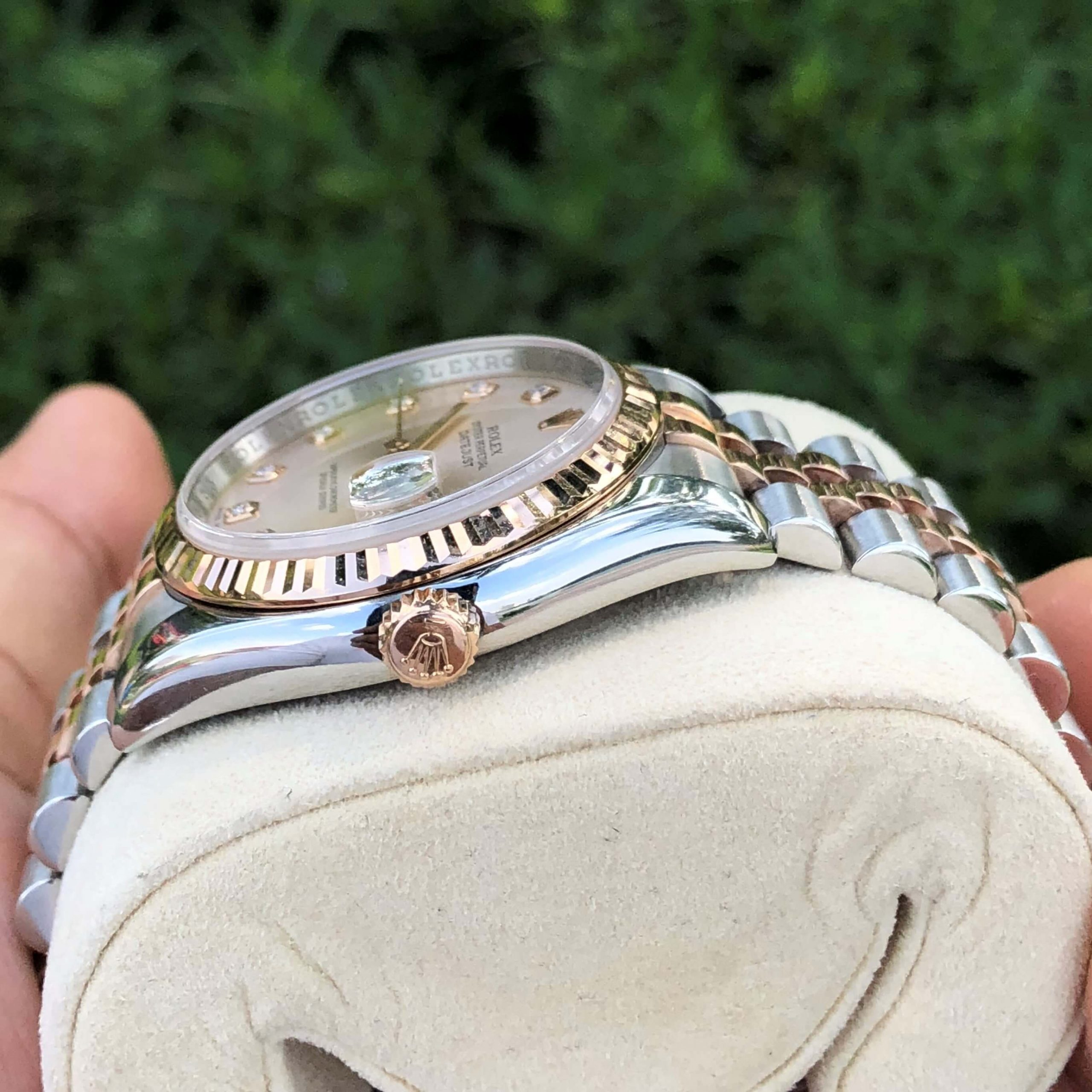 Đồng hồ Rolex Datejust 116231 Mặt phấn hồng Demi vàng hồng 18k