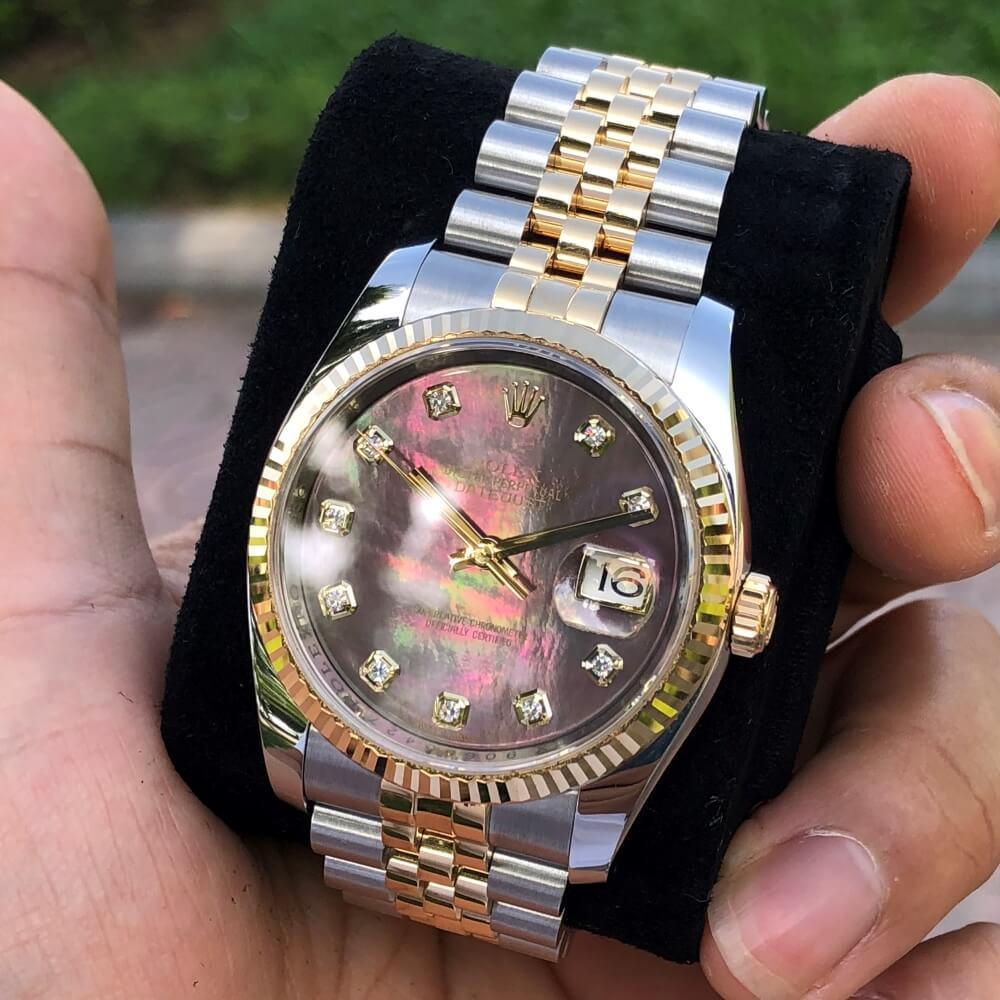 Đồng hồ Rolex Datejust 116233 Mặt ốc tím Demi vàng 18k Size 36mm