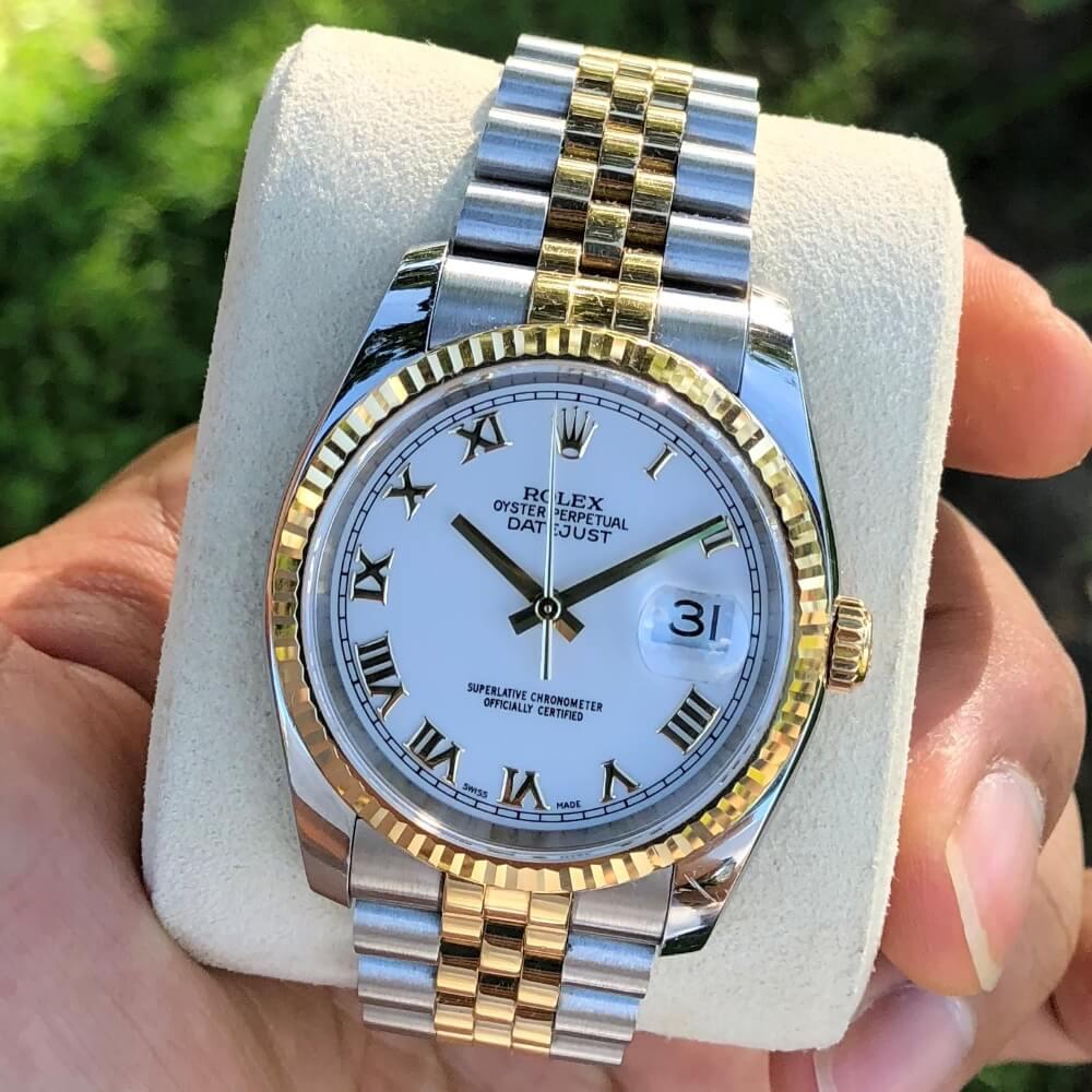 Rolex Datejust 116233 Mặt trắng men Demi vàng vàng 18k Size 36mm