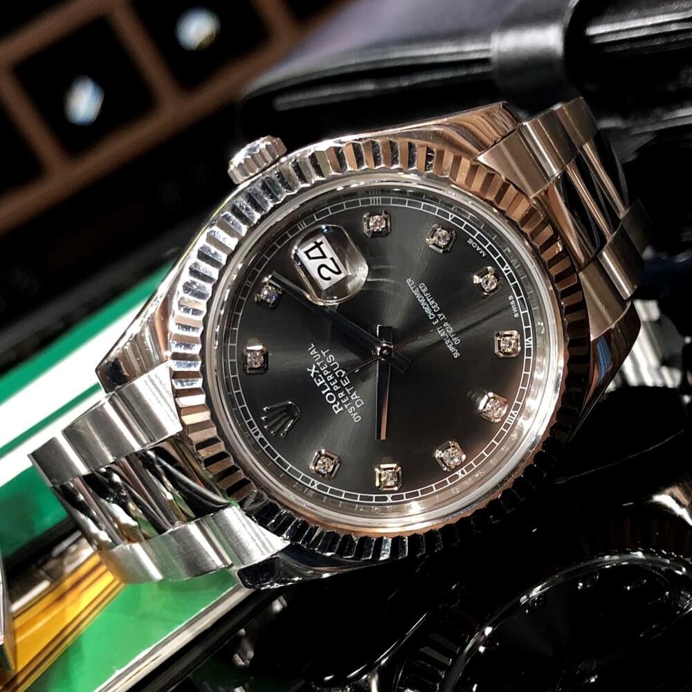 Đồng hồ Rolex Datejust 116334 Mặt đen Bezel Vàng trắng 18k Size 41mm