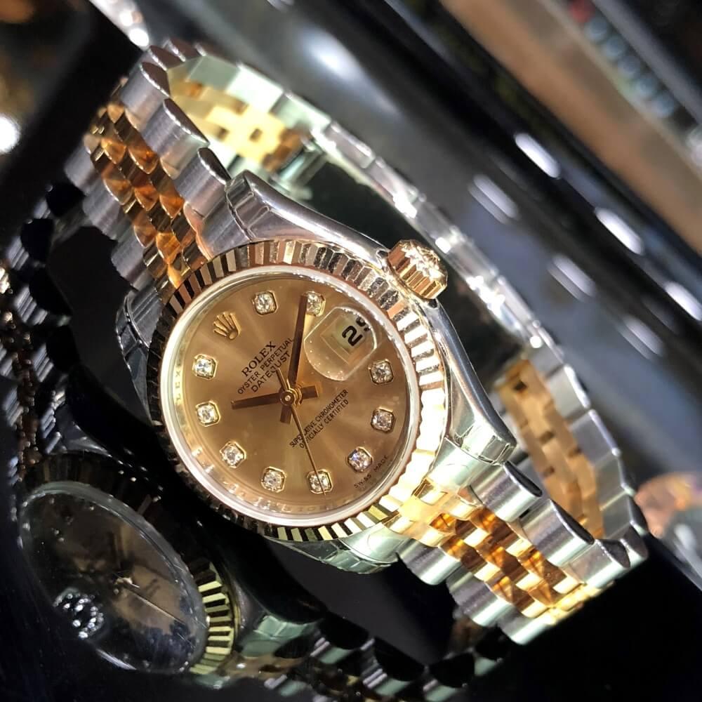 Rolex Lady-Datejust 179173 Mặt số Champagne Demi vàng 18k Fullbox 2008
