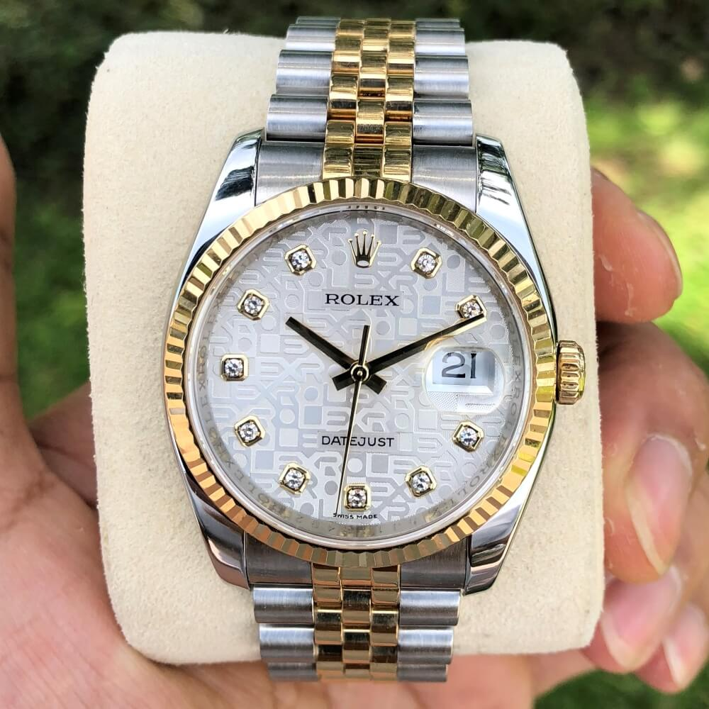Rolex Datejust 116233 Mặt vi tính trắng Demi vàng 18k Fullbox 2016