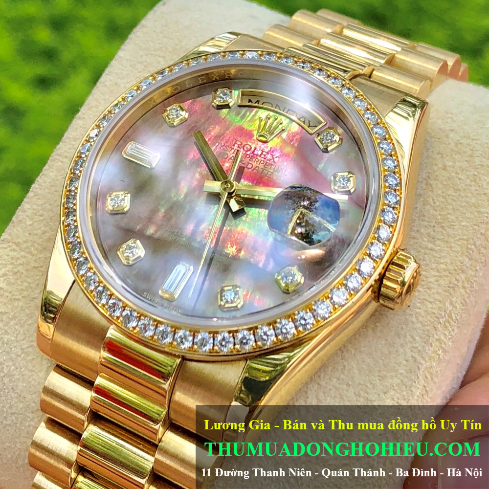 Rolex Day-Date 118348 Mặt ốc tim Vàng khối 18k Size 36mm